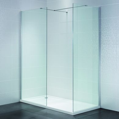 Frontline Identiti2 8mm Walk-In Clear Shower Glass Panel and Support Arm - 1400mm
