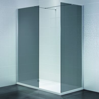 Frontline Identiti2 8mm Walk-In Smoked Shower Glass Panel and Support Arm - 1200mm