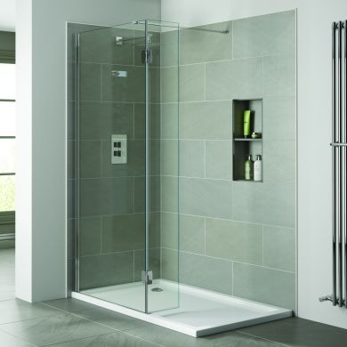 Frontline Prestige2 10mm Walk-In Clear Shower Glass Panel and Support Arm - 1200mm