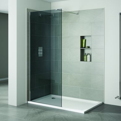 Frontline Prestige2 10mm Walk-In Smoked Shower Glass Panel and Support Arm - 1400mm